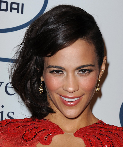 Paula Patton Straight Formal Half Up Hairstyle - Dark Brunette Hair Color