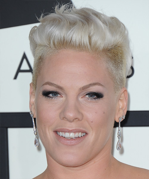 Pink Short Straight Casual Undercut Hairstyle - Light Blonde (Platinum) Hair Color