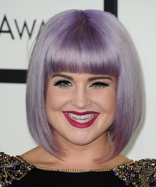 Kelly Osbourne Medium Straight Bob Hairstyle - Purple