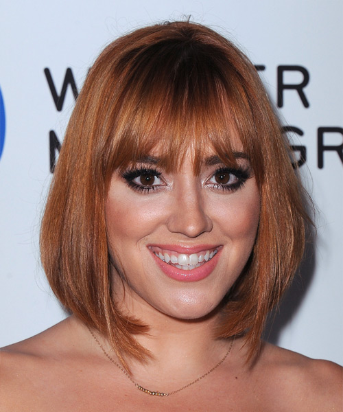 Andrea Bowen Medium Straight Casual Bob Hairstyle with Blunt Cut Bangs - Medium Red (Ginger) Hair Color