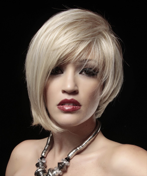 Short Straight Alternative Asymmetrical Hairstyle - Light Blonde (Strawberry) Hair Color