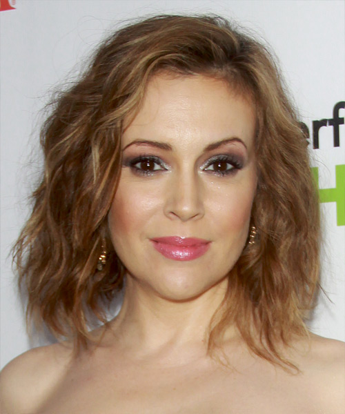 Alyssa Milano Medium Wavy Casual Hairstyle - Medium Blonde (Copper) Hair Color