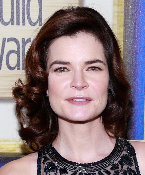 Betsy Brandt Medium Wavy Formal Hairstyle - Dark Brunette (Burgundy) Hair Color