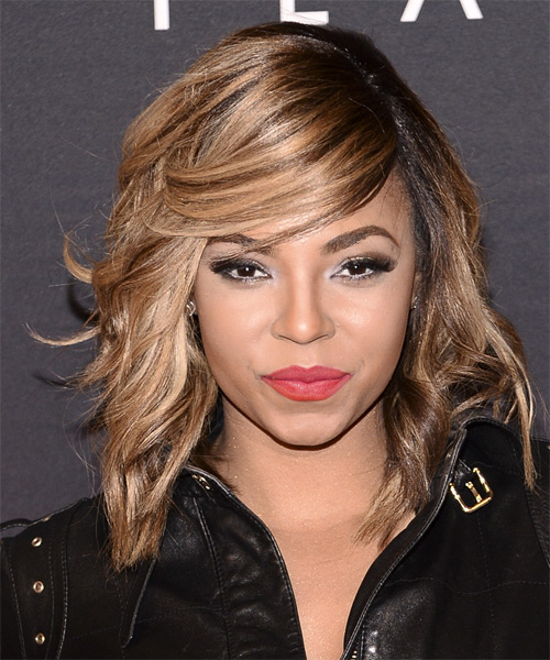 Ashanti Medium Wavy Casual Hairstyle with Side Swept Bangs - Light Brunette (Caramel) Hair Color