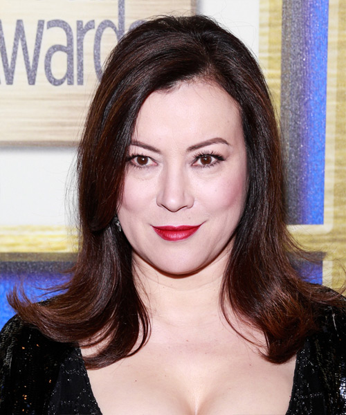 Jennifer Tilly Medium Straight Formal Hairstyle - Dark Brunette (Plum) Hair Color