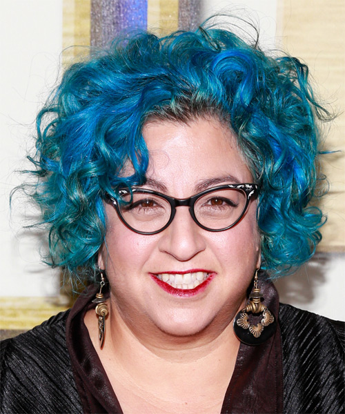 Jenji Kohan Short Wavy Alternative Hairstyle Blue Hair Color