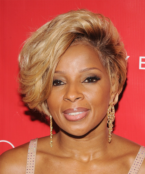 Mary J Blige Short Straight Formal Hairstyle with Side Swept Bangs - Medium Blonde (Golden) Hair Color