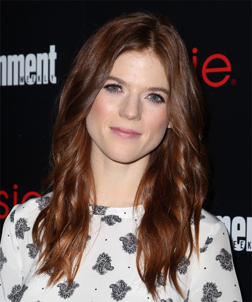 Rose Leslie Long Wavy Casual Hairstyle - Medium Brunette (Mahogany) Hair Color