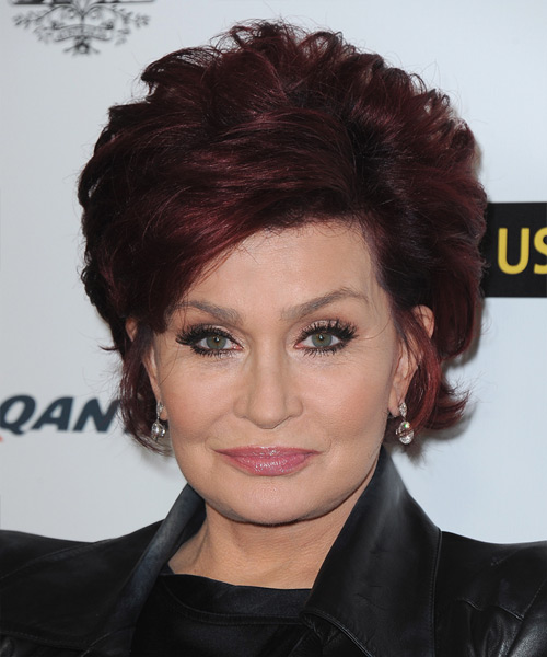 Sharon Osbourne Short Straight Hairstyle - Dark Red (Burgundy)