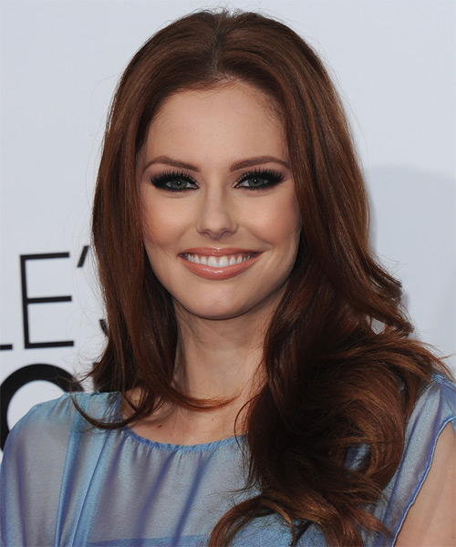 Alyssa Campanella Long Straight Hairstyle - Medium Brunette (Auburn)