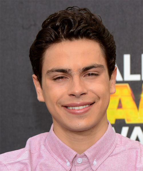 Jake T Austin Short Wavy Hairstyle - Dark Brunette (Mocha)