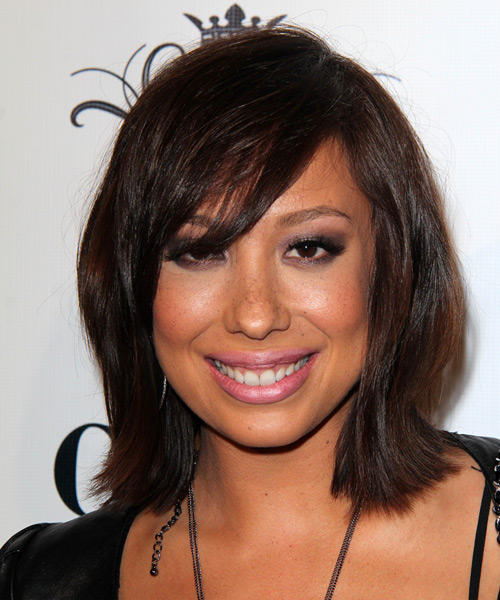 Cheryl Burke Medium Straight Casual Hairstyle with Side Swept Bangs - Dark Brunette (Mocha) Hair Color