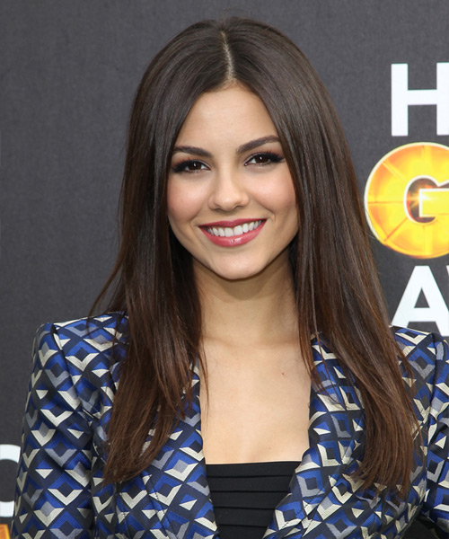 Victoria Justice Long Straight Formal Hairstyle - Dark Brunette (Chocolate) Hair Color