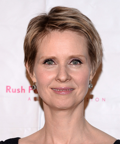 Cynthia Nixon Short Straight Casual Hairstyle - Dark Blonde (Golden) Hair Color