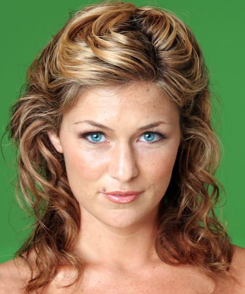 Formal Curly Half Up Hairstyle - Dark Blonde