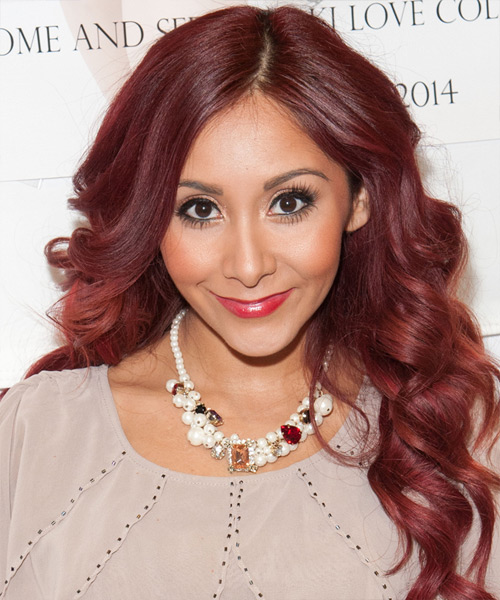 Nicole Snooki Polizzi Long Wavy Formal Hairstyle - Medium Red Hair Color