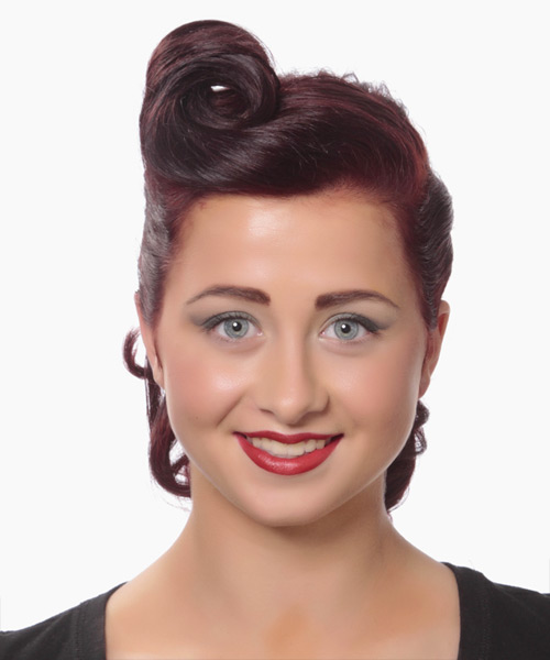 Updo Medium Curly Formal  - Dark Red (Burgundy)