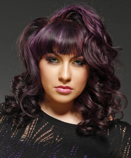 Medium Wavy Formal Hairstyle with Blunt Cut Bangs - Purple (Plum) Hair Color