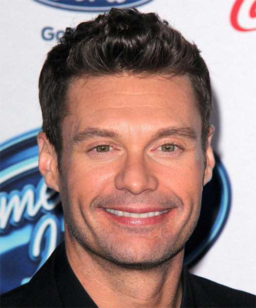 Ryan Seacrest Short Wavy Hairstyle - Medium Brunette