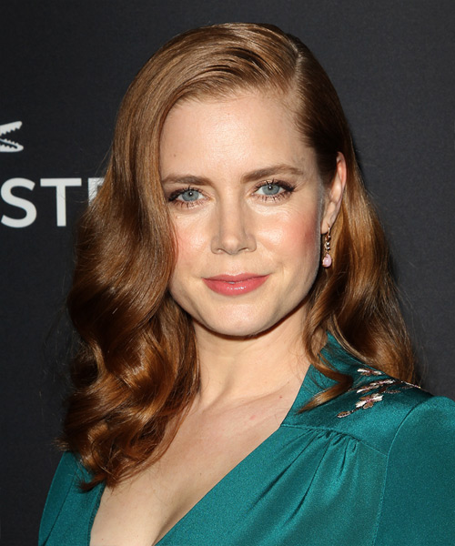 Amy Adams Long Wavy Formal Hairstyle - Medium Brunette (Chestnut) Hair Color
