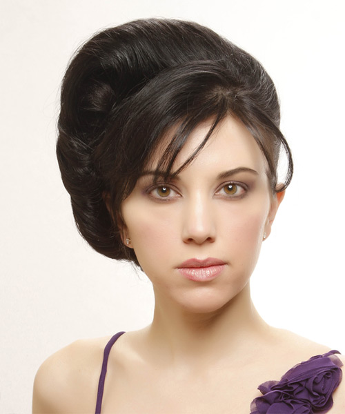 Straight Casual Updo Hairstyle with Side Swept Bangs - Black Hair Color