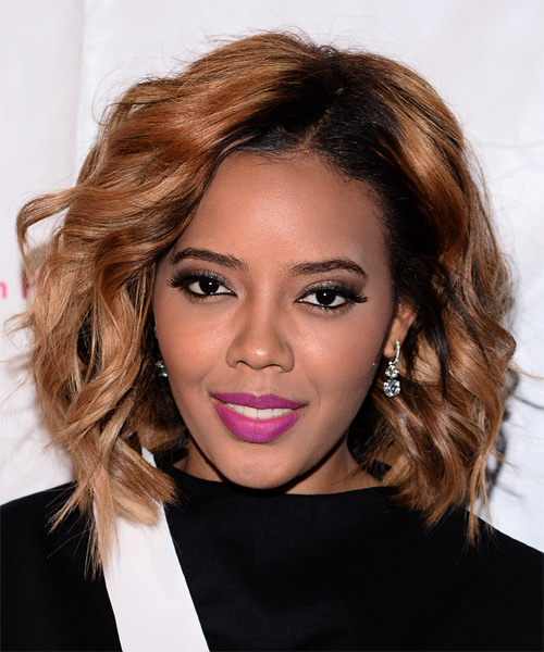 Angela Simmons Medium Wavy Casual Hairstyle - Medium Red (Copper) Hair Color