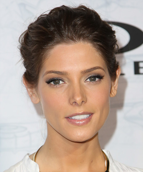 Ashley Greene Straight Casual Updo Hairstyle - Medium Brunette Hair Color