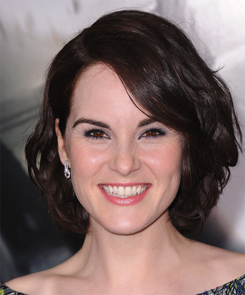 Michelle Dockery Medium Wavy Casual  - Dark Brunette (Mocha)