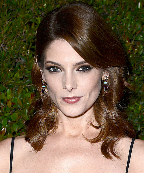 Ashley Greene Medium Wavy Hairstyle - Medium Brunette (Chocolate)