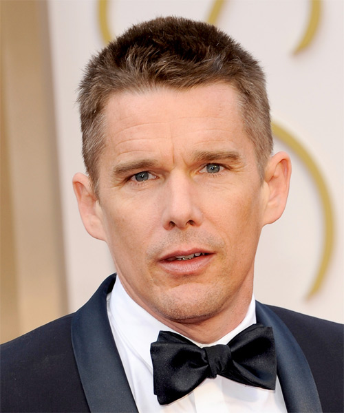 Ethan Hawke Short Straight Hairstyle - Medium Brunette (Caramel)
