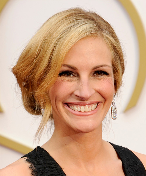 Julia Roberts Straight Formal Updo Hairstyle - Dark Blonde (Honey) Hair Color