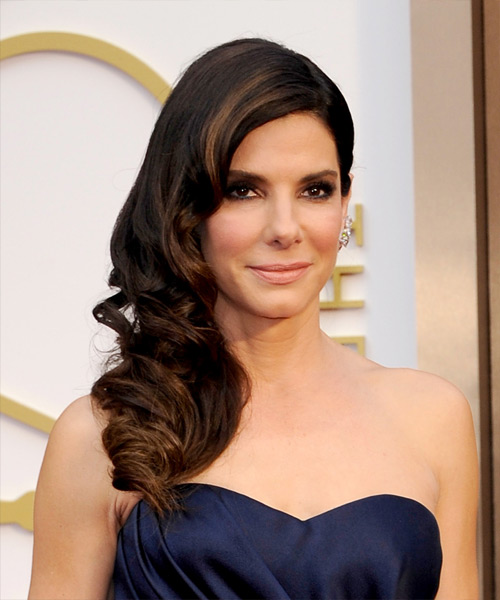Sandra Bullock Long Wavy Formal Hairstyle - Dark Brunette (Mocha) Hair Color
