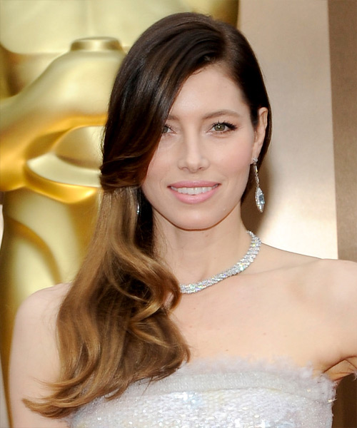 Jessica Biel Long Straight Hairstyle - Dark Brunette