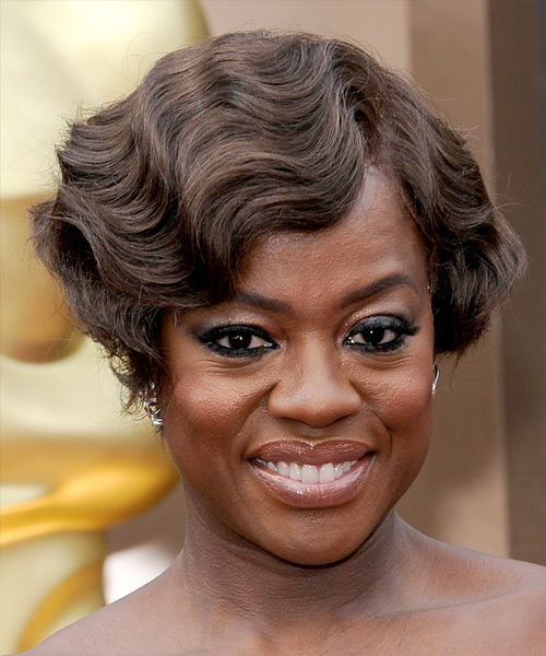 Viola Davis Short Wavy Formal Hairstyle - Medium Brunette (Chocolate) Hair Color