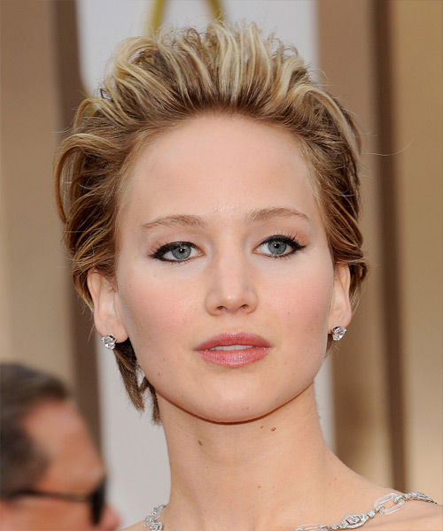 Jennifer Lawrence Short Straight Hairstyle - Medium Brunette (Chestnut)