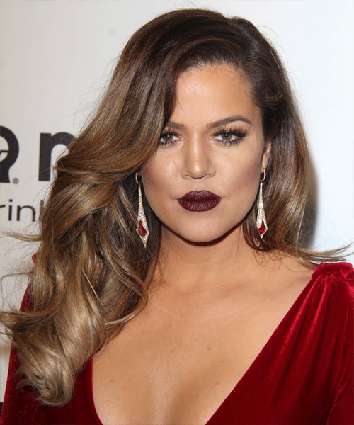 Khloe Kardashian Long Wavy Hairstyle - Medium Brunette (Chestnut)