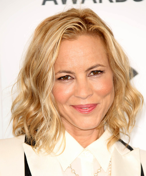 Maria Bello Medium Wavy Casual Hairstyle - Medium Blonde (Honey) Hair Color