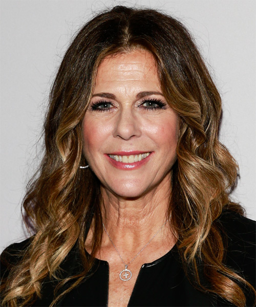 Rita Wilson Long Wavy Casual Hairstyle - Medium Brunette Hair Color