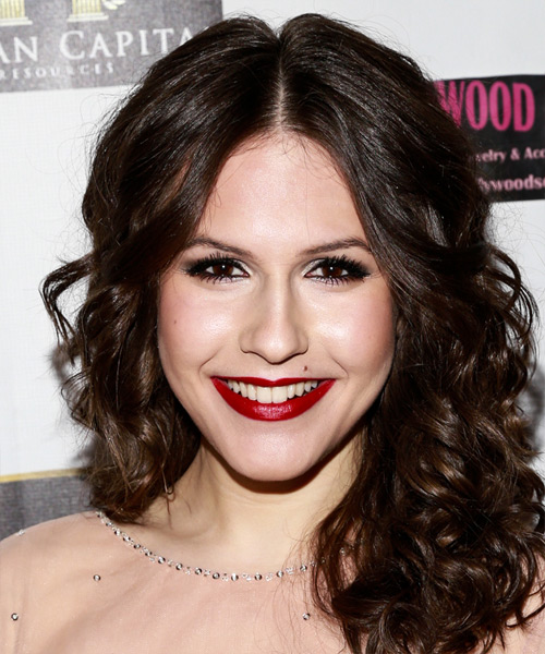 Erin Sanders Medium Curly Formal Hairstyle - Dark Brunette (Mocha) Hair Color