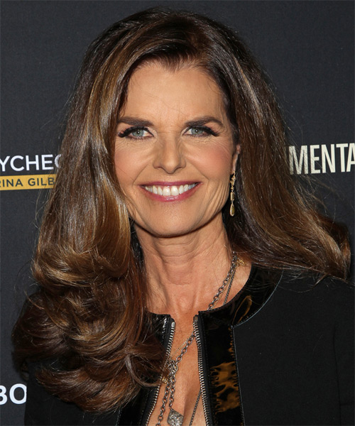 Maria Shriver Long Straight Formal Hairstyle Chocolate
