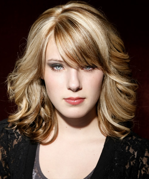 Medium Wavy Formal Hairstyle with Side Swept Bangs - Medium Blonde (Champagne) Hair Color