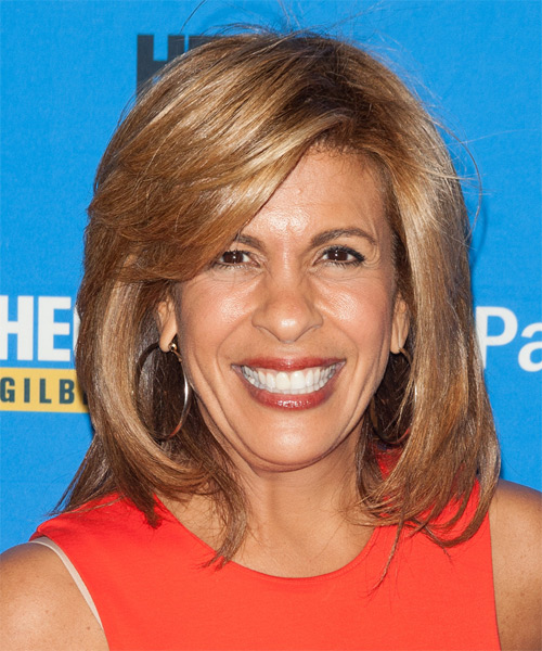 Hoda Kotb Medium Straight Formal Hairstyle with Side Swept Bangs - Light Brunette (Caramel) Hair Color