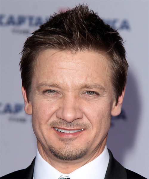 Jeremy Renner Short Straight Hairstyle - Dark Brunette (Chocolate)