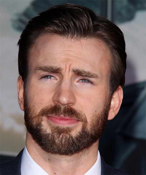 Chris Evans Short Straight Hairstyle - Dark Brunette