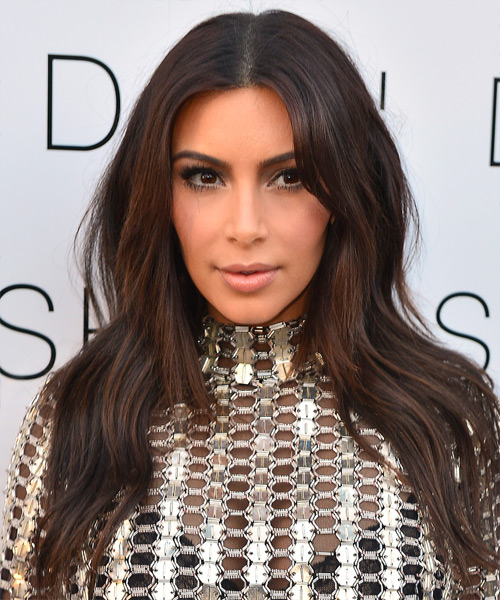 Kim Kardashian Long Straight Casual Hairstyle - Dark Brunette Hair Color