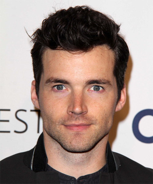Ian Harding Short Wavy Hairstyle - Dark Brunette