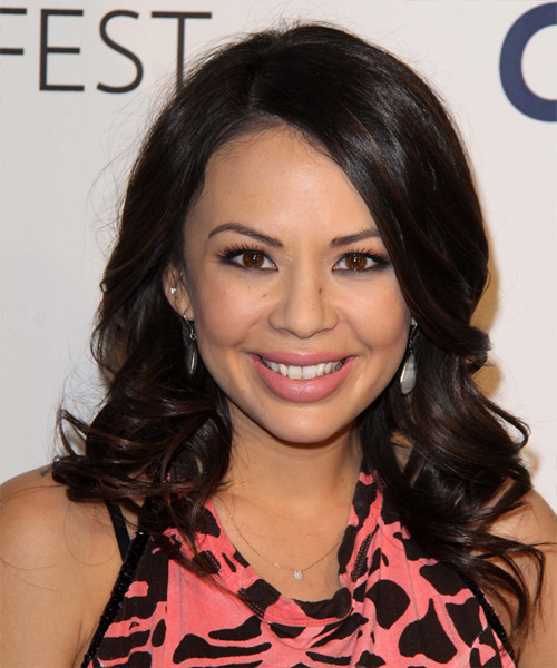 Janel Parrish Long Wavy Formal Hairstyle - Dark Brunette (Mocha) Hair Color