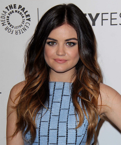 Lucy Hale Long Wavy Hairstyle - Dark Brunette (Auburn)