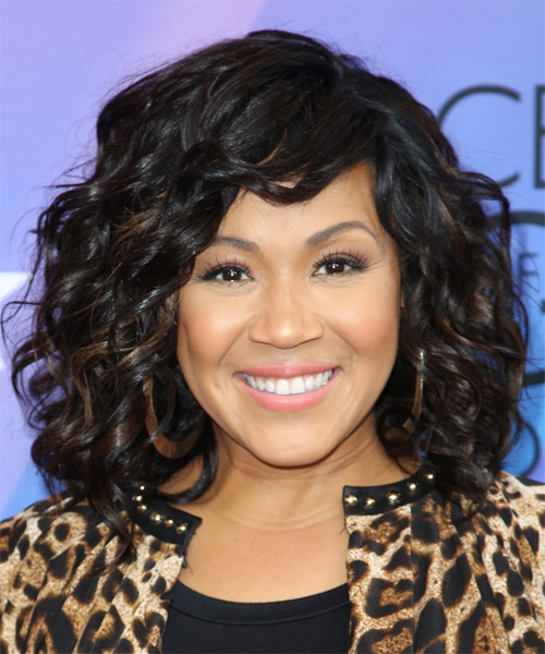 Erica Campbell Medium Curly Formal Hairstyle - Black Hair Color