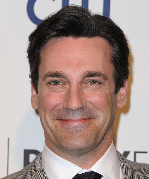 Jon Hamm Short Straight Hairstyle - Dark Brunette
